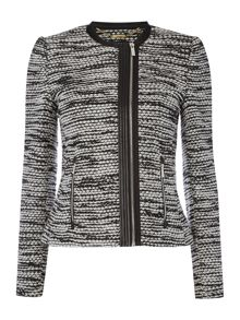 Boucle jaket with pu trim