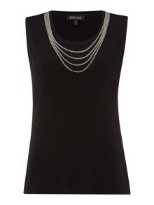 Seeveless round neck top with chain detail