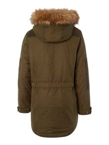Boys Waxed Parka With Faux Fur Hood