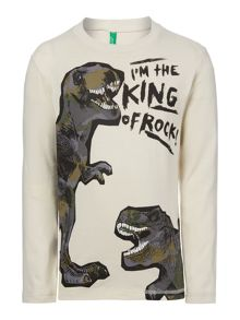 Benetton Boys Dino King Of Rock Tshirt