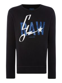 G-Star Lamar Tapered Fit Graphic Crew Neck Sweat