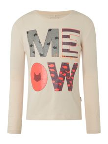 name it Girls Long Sleeved Meow Logo Top