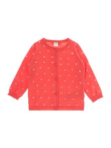 Girls Heart And Cat Print Cardigan