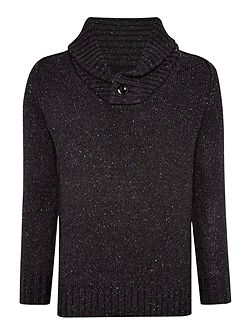 Bik Slim Fit Shawl Neck Flecked Jumper