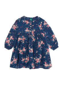 Girls Long Sleeve Button Up Floral Dress