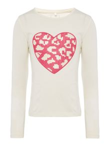 name it Girls Long Sleeved Heart Logo Top