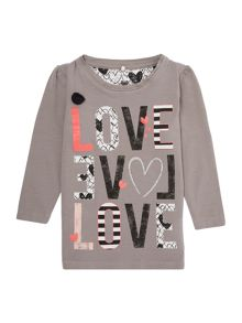 name it Girls Long Sleeved Top With Love Logo