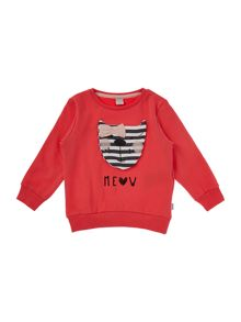 name it Girls Cat Logo Sweat Top