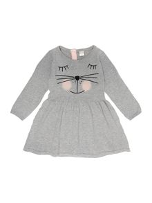 name it Girls Long Sleeved Cat Embroidered Knitted Dress