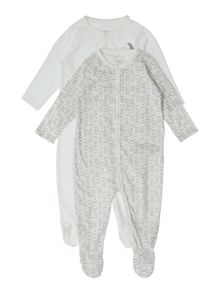 Babys 2 Pack House Print And Logo Nightsuit