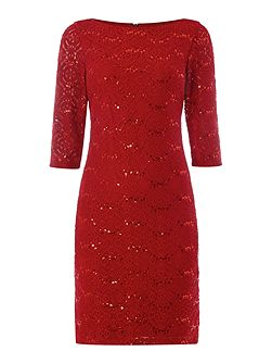 Eliza J 3/4 Sleeve lace textured dress