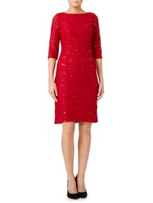 3/4 Sleeve lace textured dress