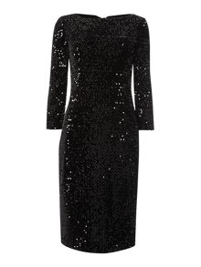 Long sleeve sequin shift dress