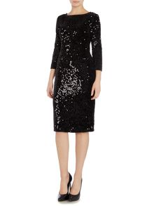 Eliza J Long sleeve sequin shift dress