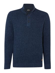 Forest Funnel Neck Button Jumper