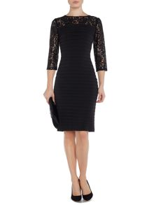 Linea Lace sequin 3/4 sleeve shutter dress
