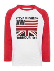 Boys Long Sleeved Flag Graphic T-Shirt