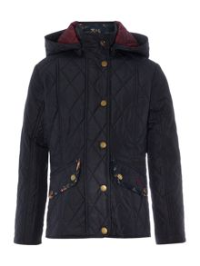 Girls Quilted Hooded Bird Print Jacket