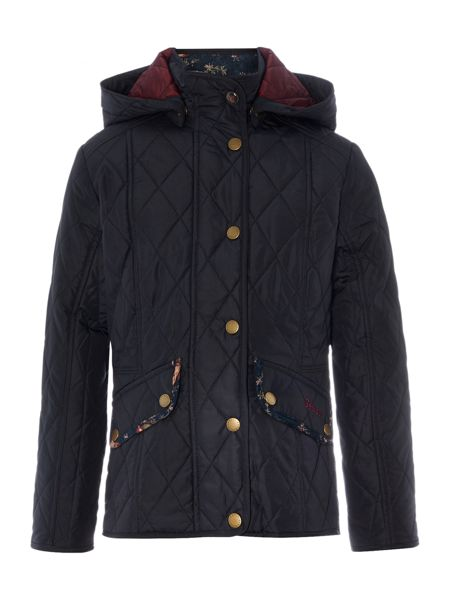 Barbour Girls Quilted Hooded Bird Print Jacket