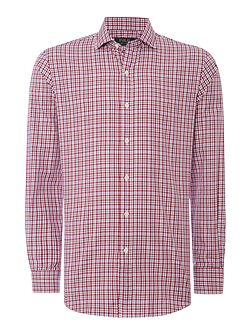 Gingham Slim Fit Long Sleeve Classic Collar Shirt
