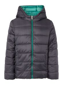Boys Reversible Padded Jacket With Check Hood