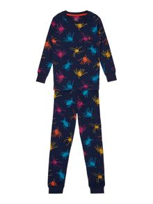 Boys Spider Printed Long Sleeve Pyjamas