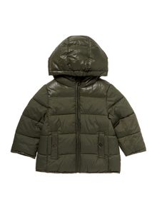 Girls Contrast Panel Padded Jacket With Hood