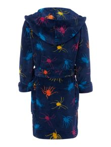 Joules Boys Spider Print Fleece Dressing Gown