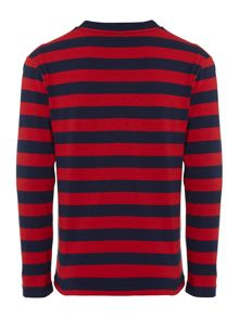 Boys Long Sleeved Stripe Crew Neck Tshirt