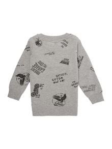 Benetton Boys Long Sleeved All Over Print Motorbike Sweats