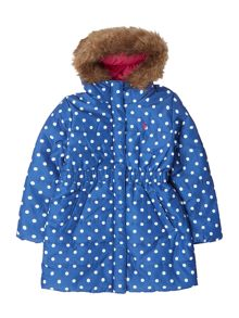 Girls Hooded Long Line Padded Coat With Fauxfur T