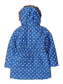 Joules Girls Hooded Long Line Padded Coat With Fauxfur T