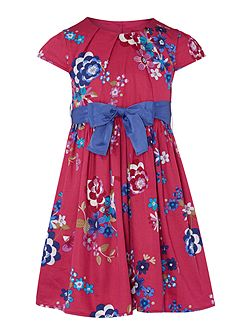 Girls Floral Capped Sleeved Pleated Dress With Ri