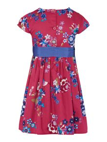 Joules Girls Floral Capped Sleeved Pleated Dress With Ri