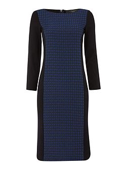 Marmo long sleeve dress with textured panel