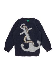Benetton Boys Long Sleeved Anchor Sweater