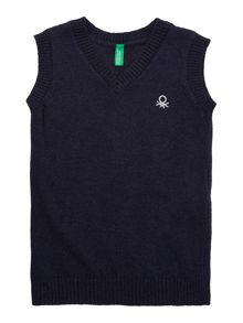 Benetton Boys Classic Knitted V Neck Sweater