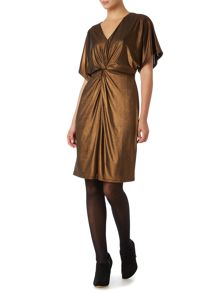 Knot front metallic jersey dress