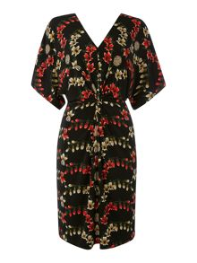 Printed knot front jersey dress