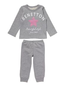 Girls Star Sweat And Trouser Set