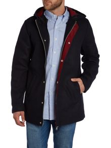 Bellfield Contrast Lining Zip Up Hooded Parka