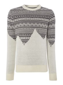 Bellfield Fairisle Cutout Crew Neck Knitted Jumpers