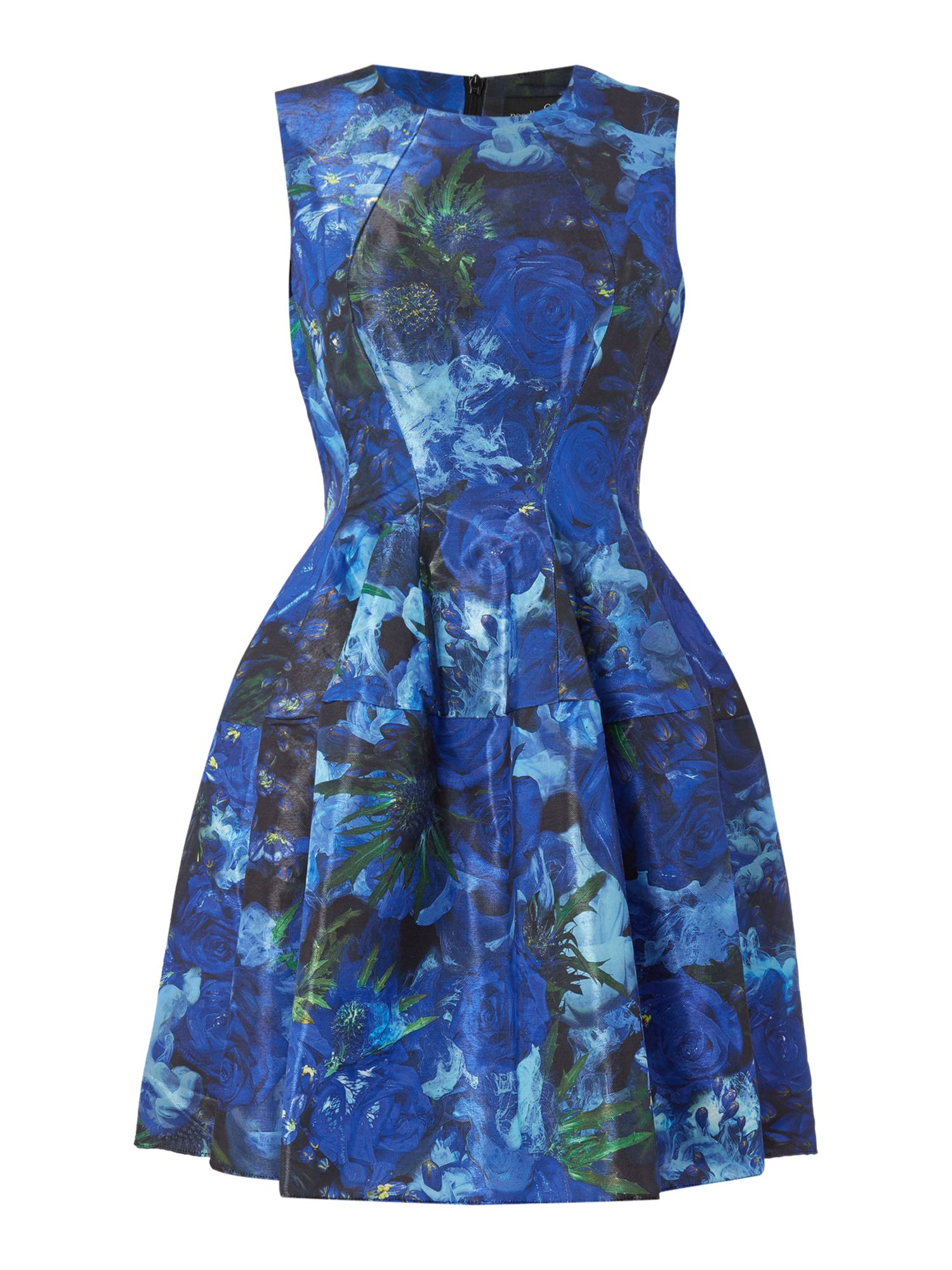 Needle and Thread Needle and Thread Fit and flare dress with gloss finished print, Blue Multi