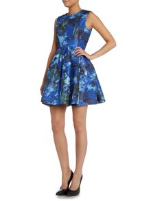 Needle and Thread Fit and flare dress with gloss finished print