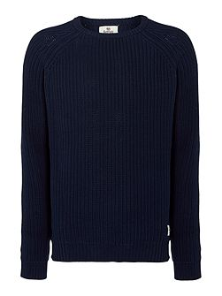 Textured Crew Neck Knitted Jumper