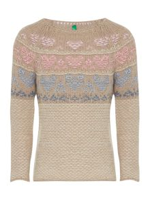 Benetton Girls Chunky Fairisle Jumper