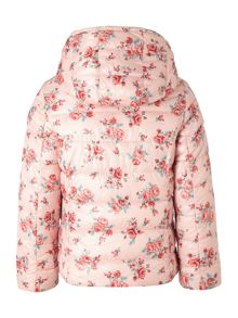 Girls Padded Floral Jacket With Reversible Hood