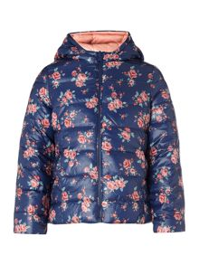 Benetton Girls Padded Floral Jacket With Reversible Hood