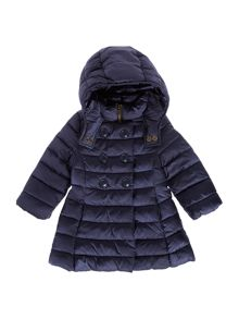 Girls Long Padded Button Hood Jacket