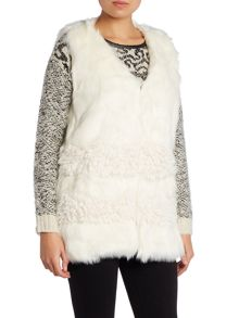Faux Fur Gilet with Contrast Panel